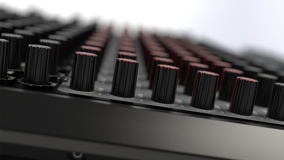 Artistic shot of analog mixer with DOF