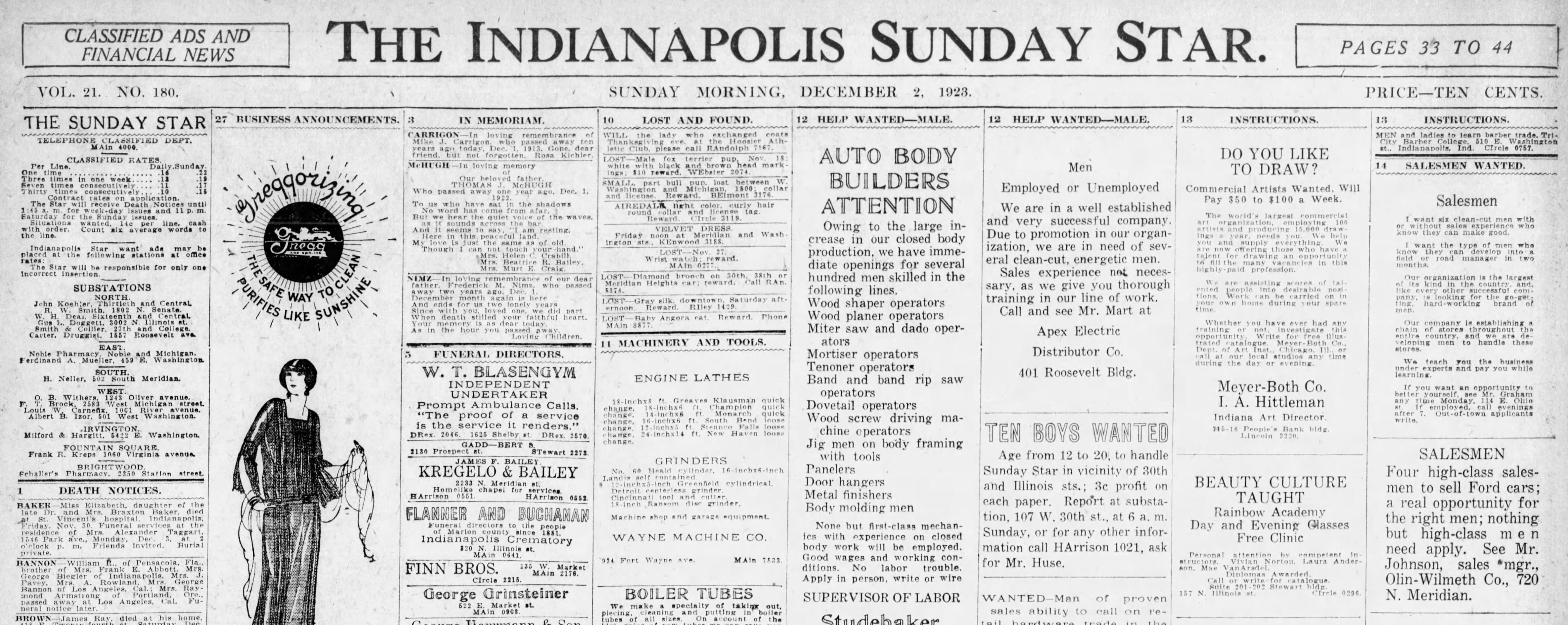newspaper job ads in 1923