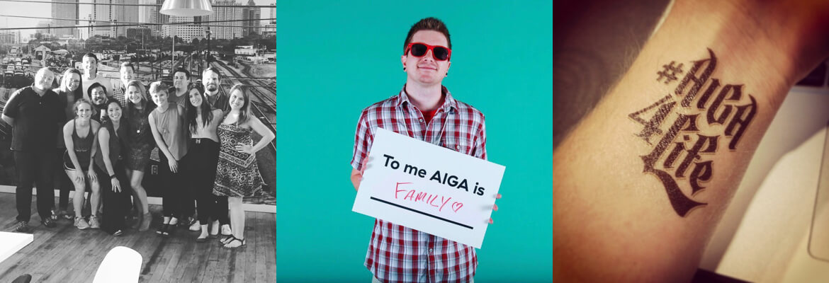 """Image collage. 1. AIGA Charlotte Board of Directors group photo. 2. Adam holding a sign that says """"To me AIGA is Family"""". 3. #AIGA4Life faux tattoo on left wrist."""