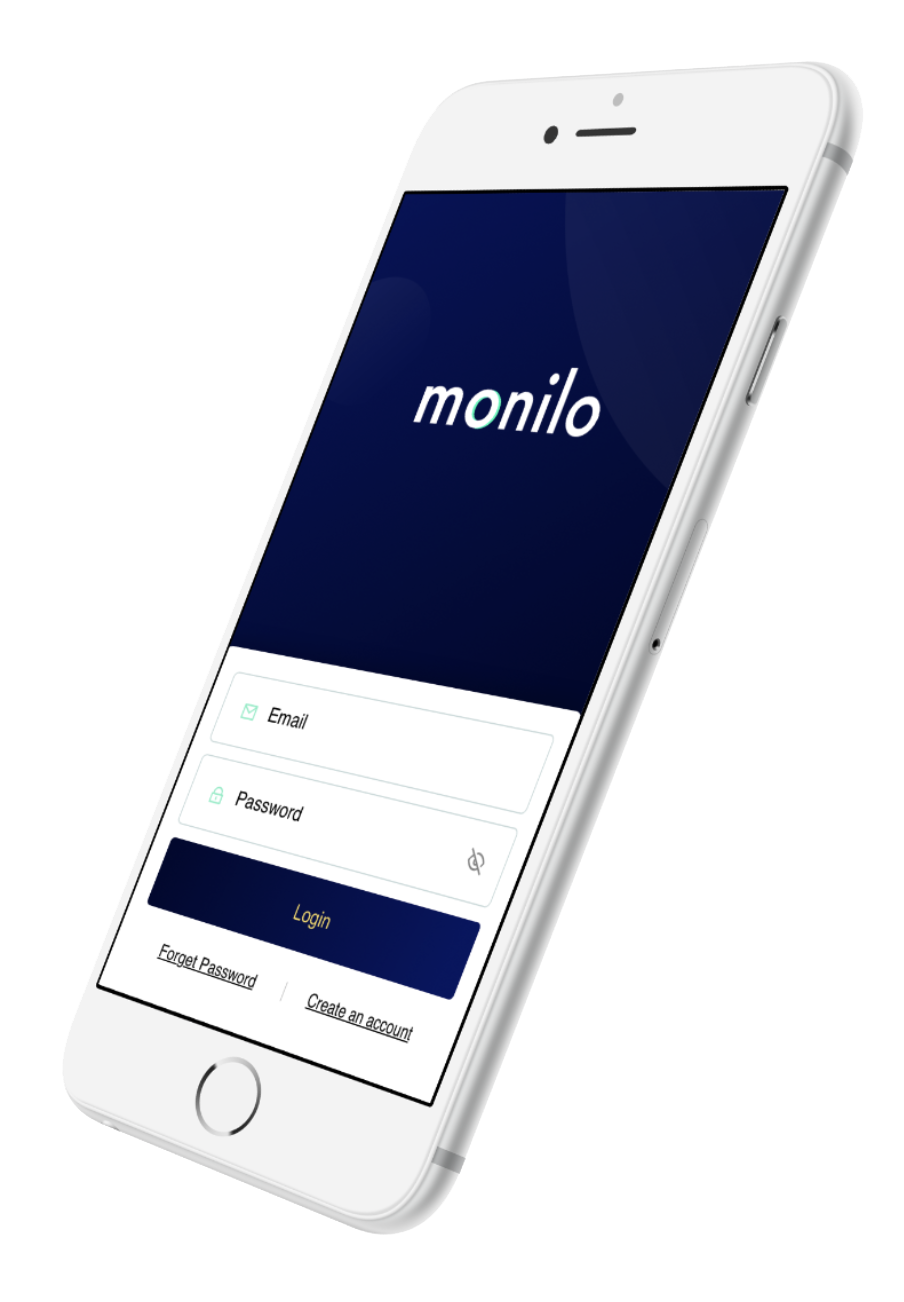 Monilo login screen on an iPhone