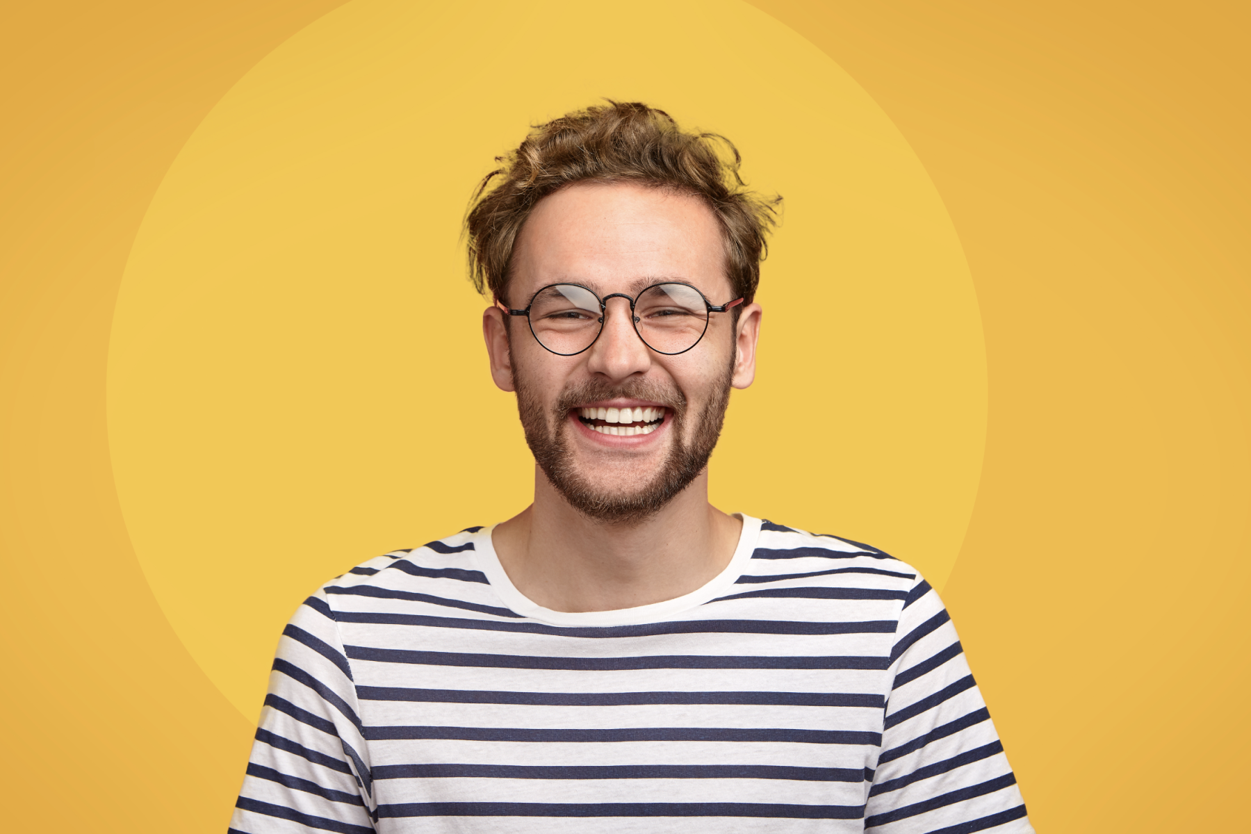 Man with yellow background