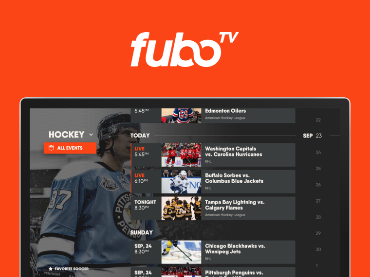 TV displaying FuboTV app interface