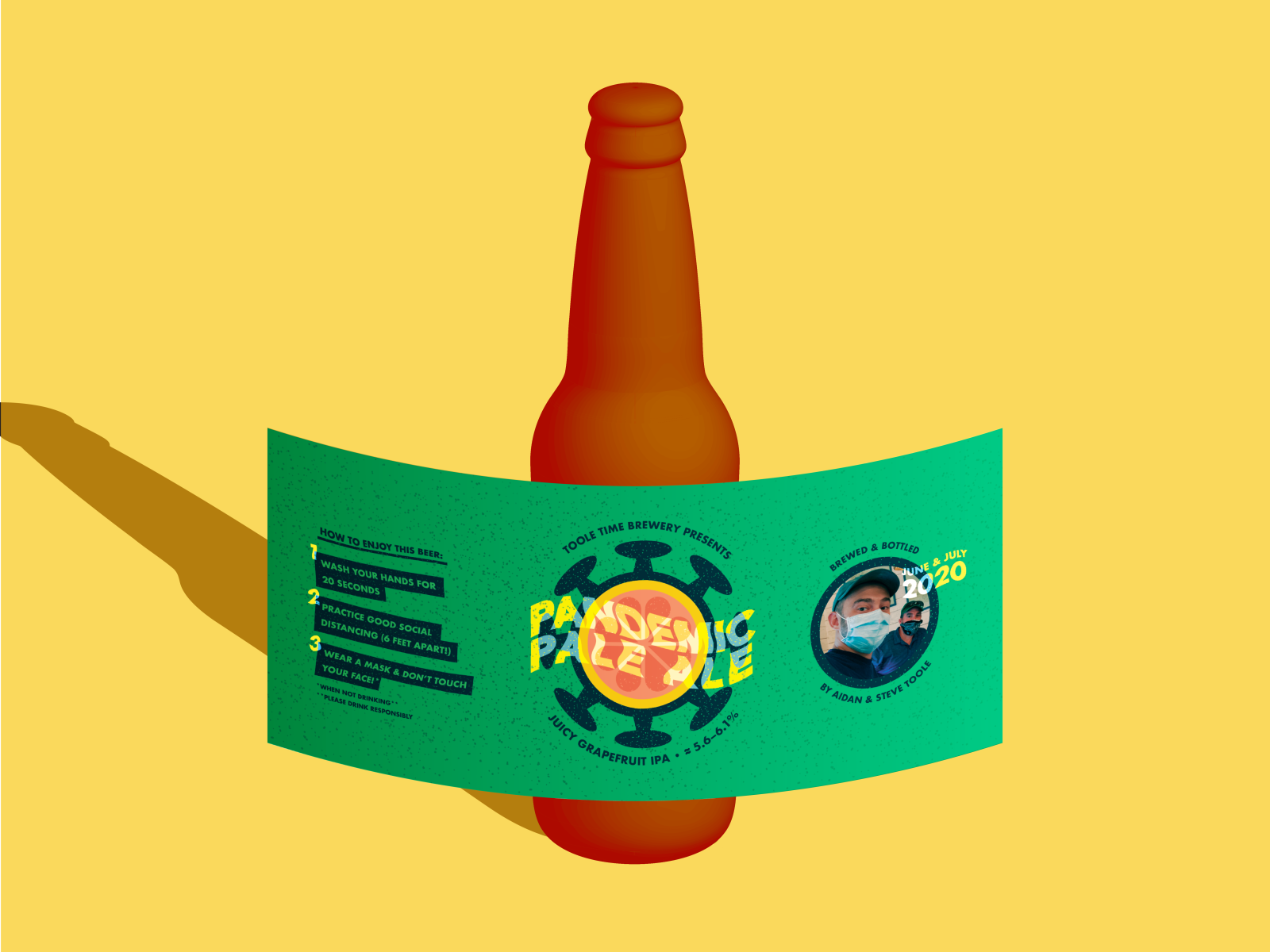 illustration of beer bottle with label