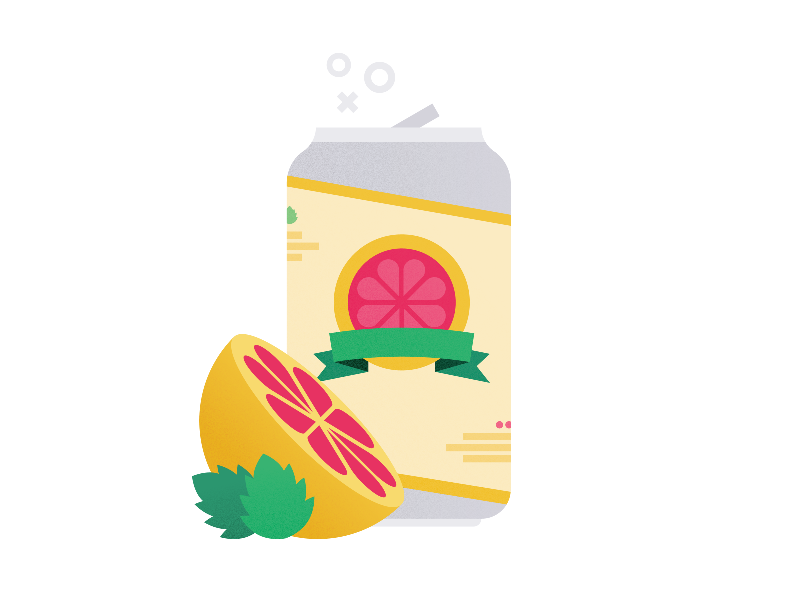illustration of grapefruit cider can with sliced fruit and hops