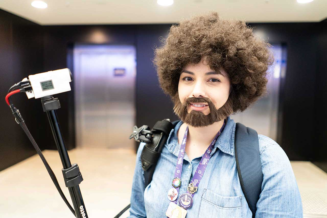 Cosplayer dressed as Bob Ross at TwitchCon EU in Berlin.