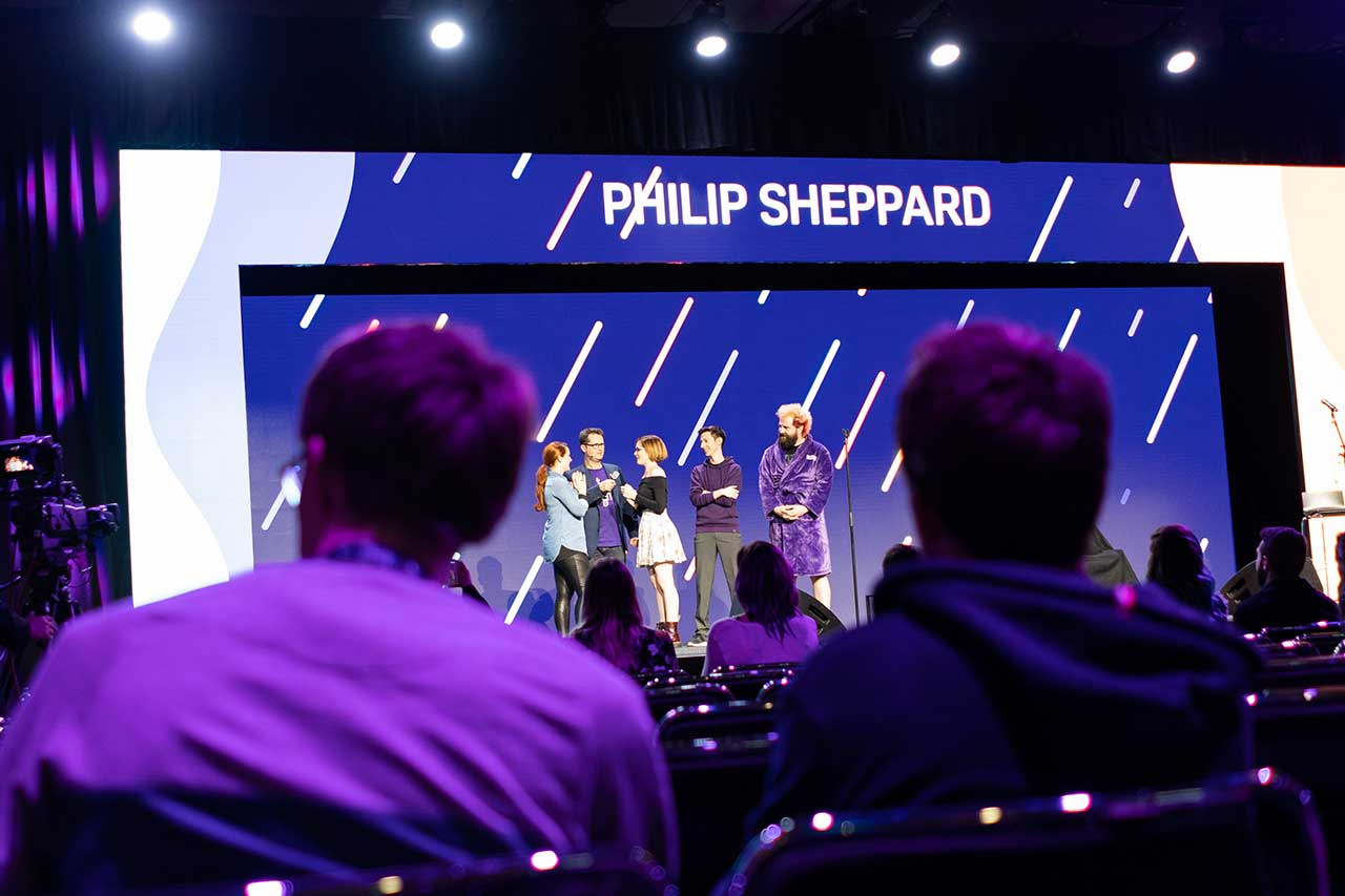 Philip Sheppard - composer of Detroit: Become human on stage at TwitchCon
