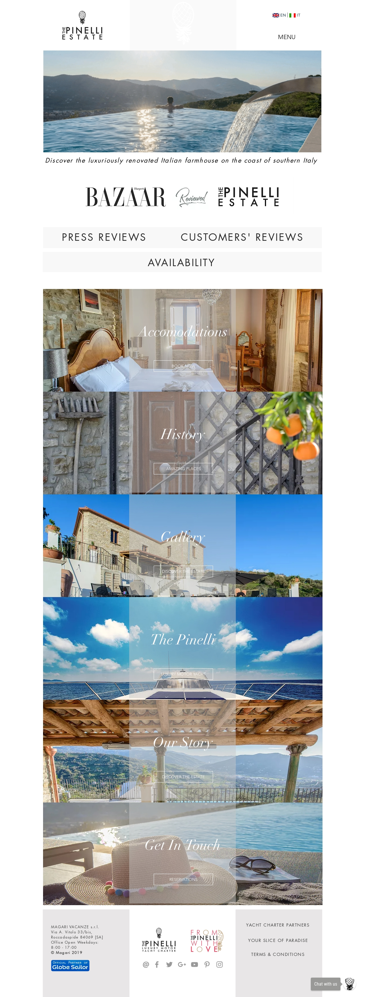 The Pinelli Estate website