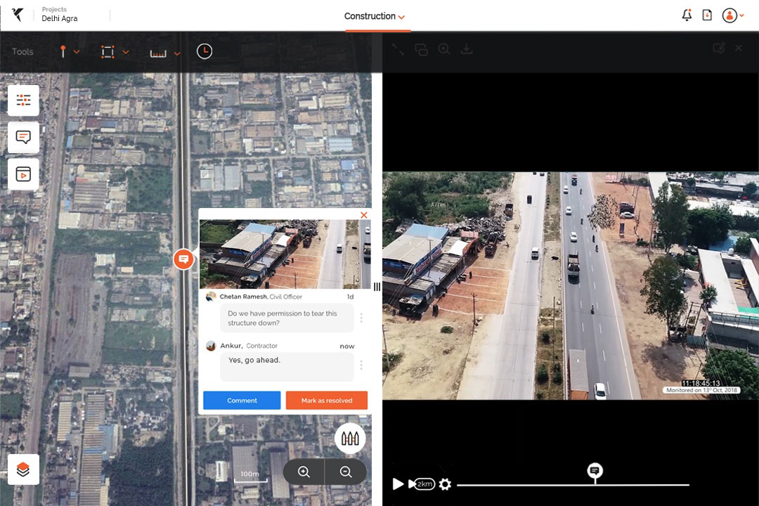 Drone data for contractor management