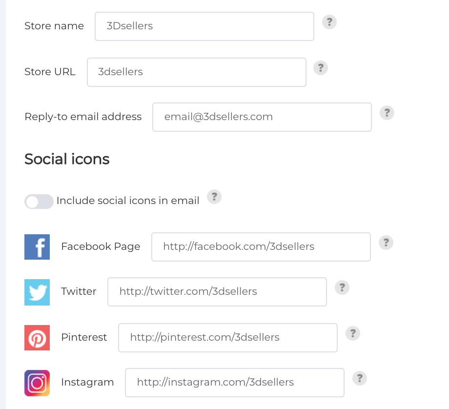 social settins in ebay emails