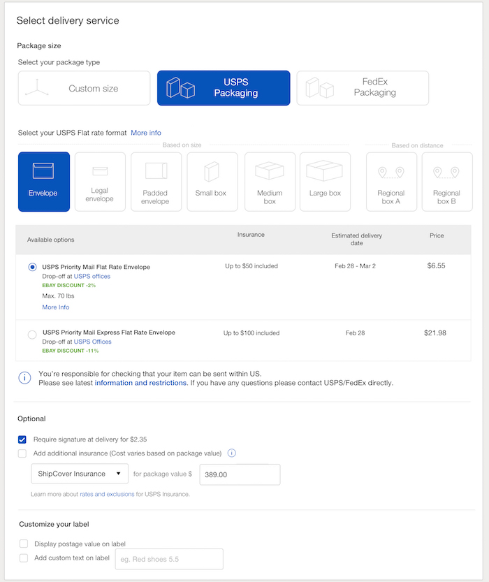 ebay shipping options example