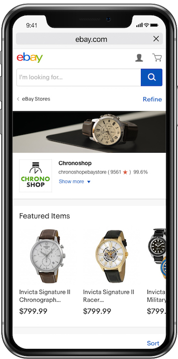ebay store shopping experience on mobile example