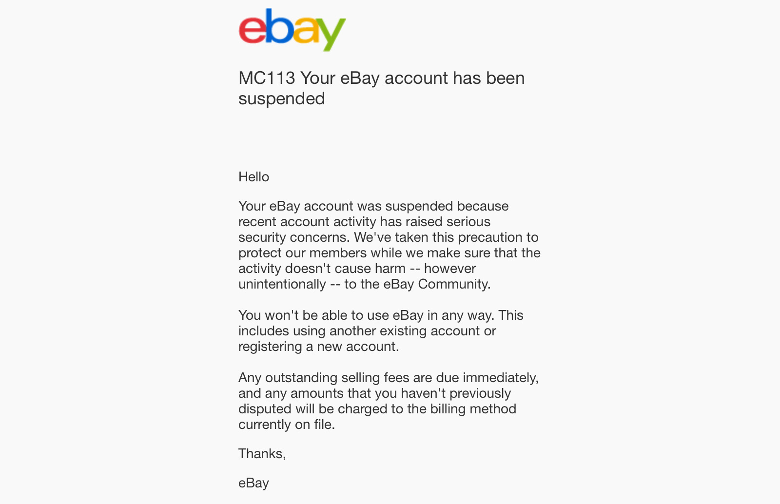 ebay suspended mc113 example