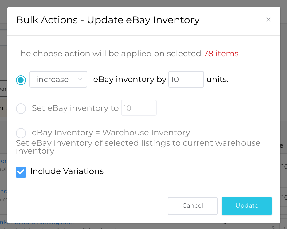 ebay seller tools inventory update