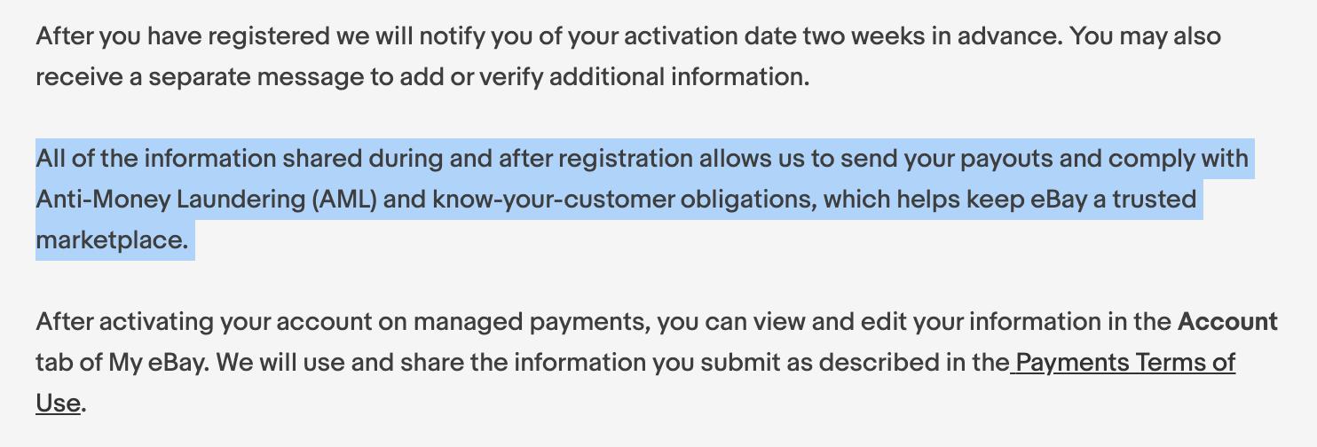 ebay managed payment annoucement screenshot