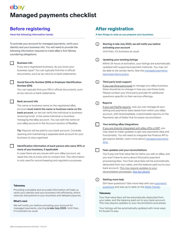ebay managed payments checklist screenshot