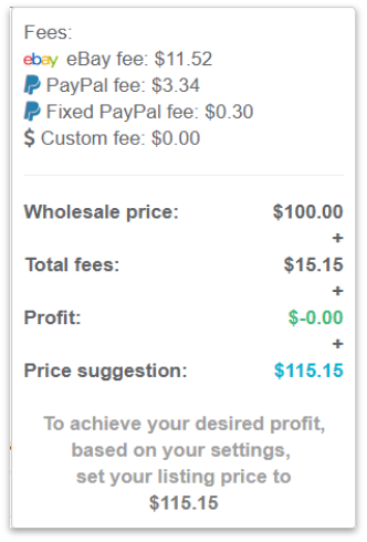 Ebay Fee Calculator Profit Price Ebay Seller Fees