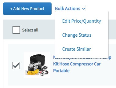 Auctiva bulk actions menu to revise eBay listings