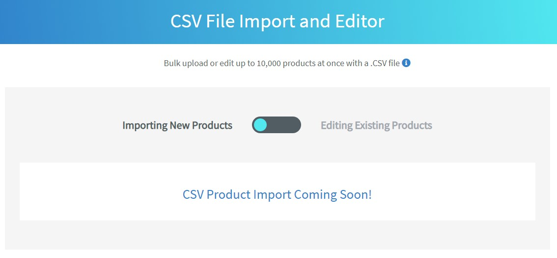 Auctiva Import eBay Listings with CSV Coming Soon page