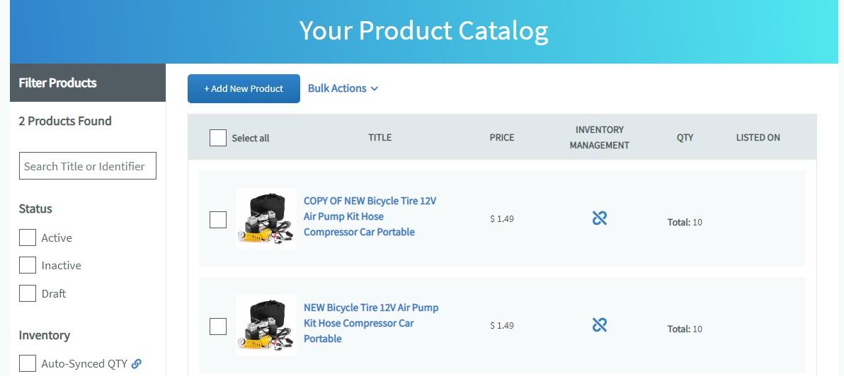 Screenshot of Auctiva Product Catalog