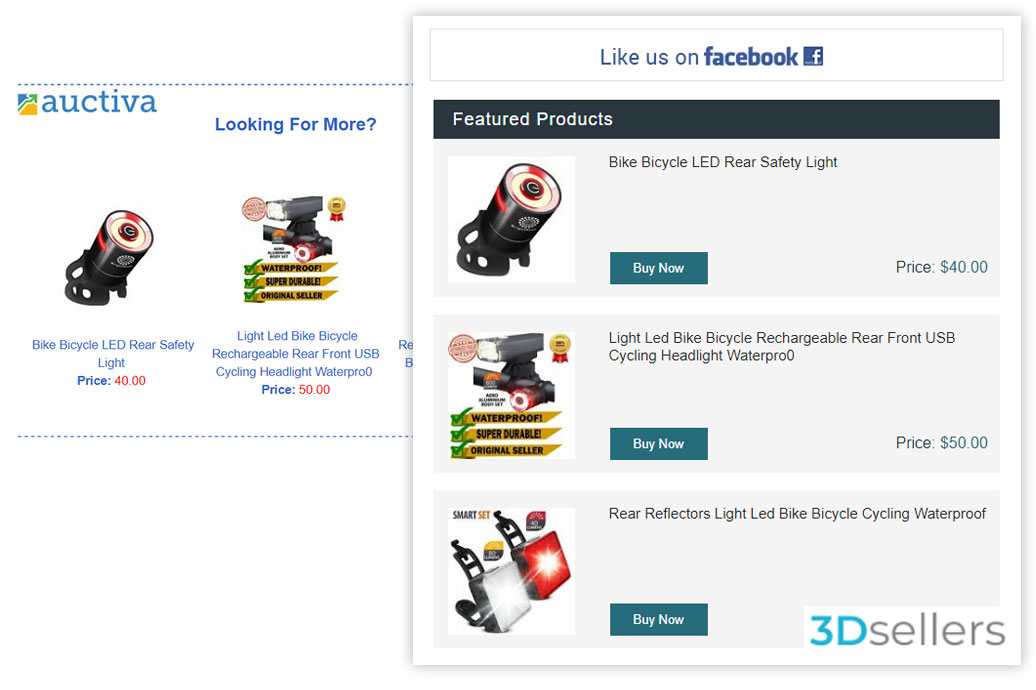 Auctiva dn 3Dsellers eBay email marketing featured cross promoted products side by side