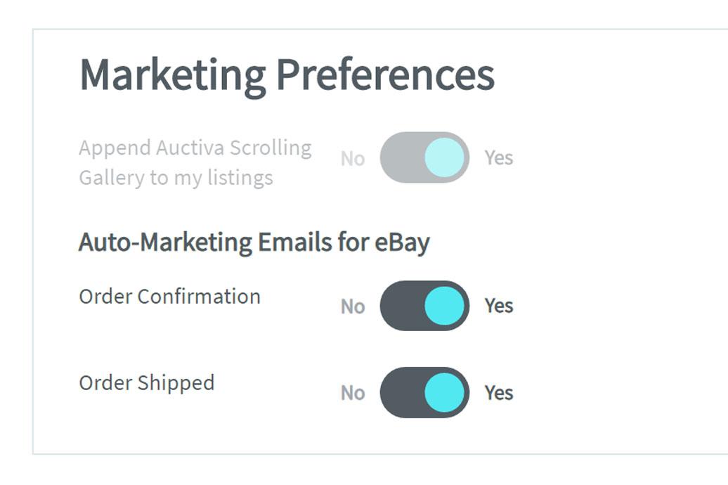 Auctiva eBay email marketing settings