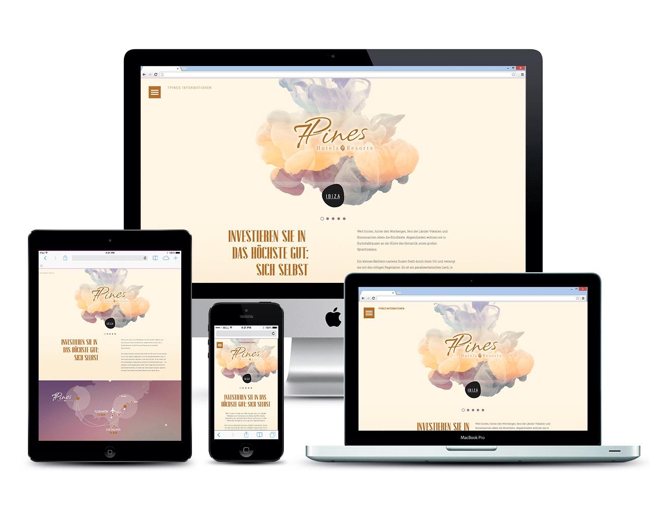Vermarktungs-Website für ein neues Hotel-Resort auf Ibiza - Übersicht Responsive Webdesign