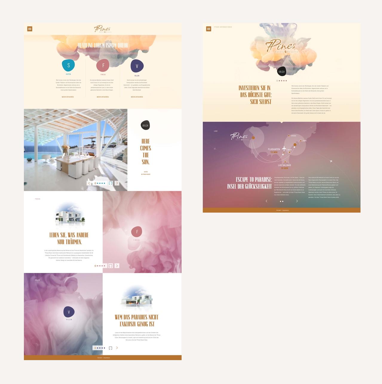 Vermarktungs-Website für ein neues Hotel-Resort auf Ibiza - Unterseite