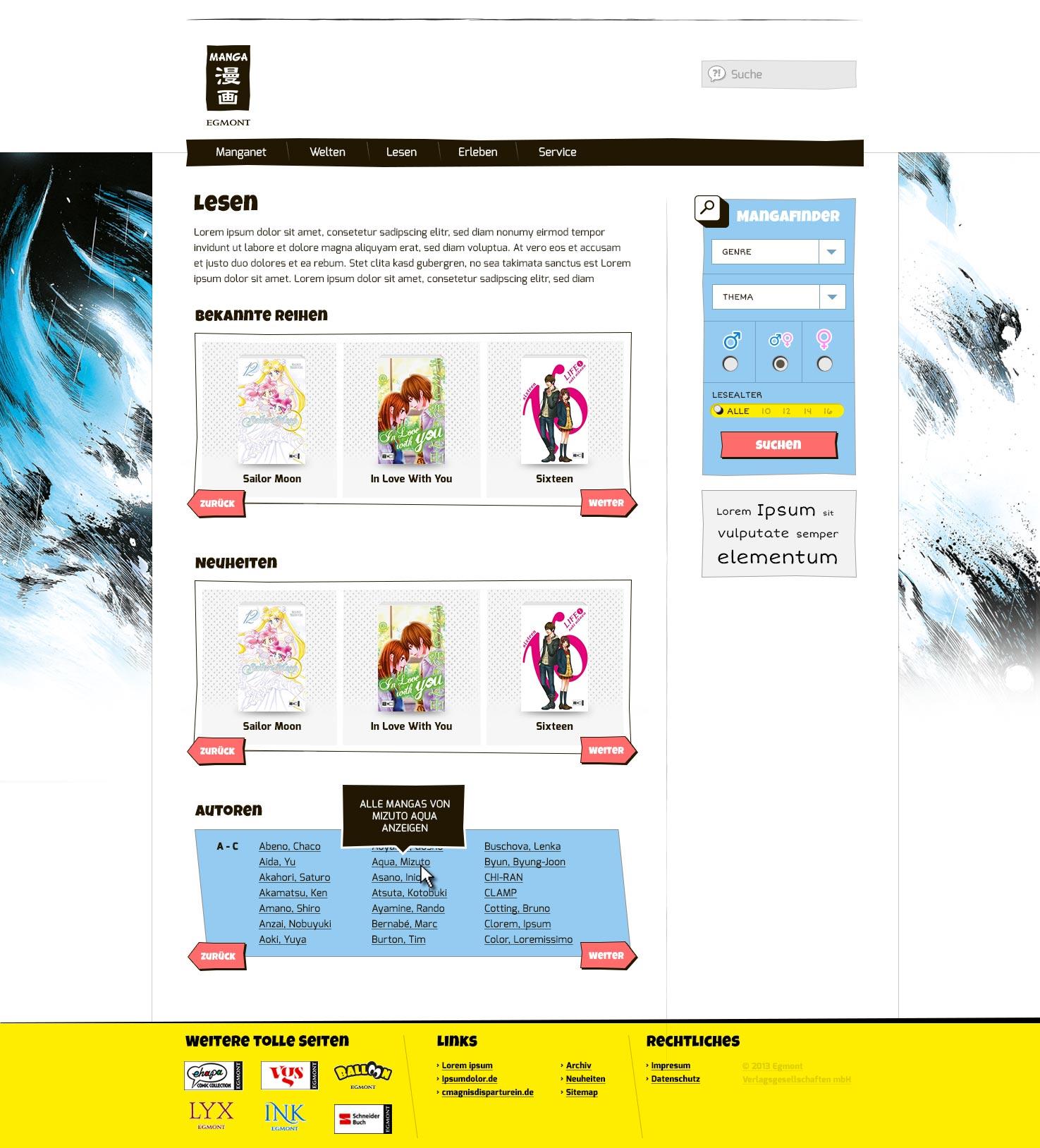 Entwicklung eines Brandings und eines Webdesign für einen Verlag aus Köln - Unterseite