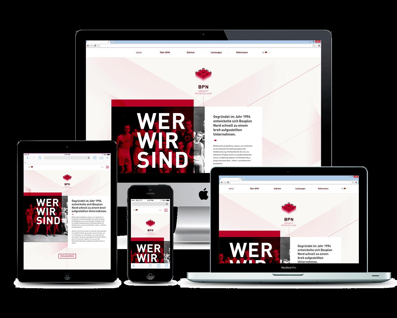 Webdesign für ein internationales Ingenieurbüro - Übersicht der Responsiven Geräte - Responsives Webdesign