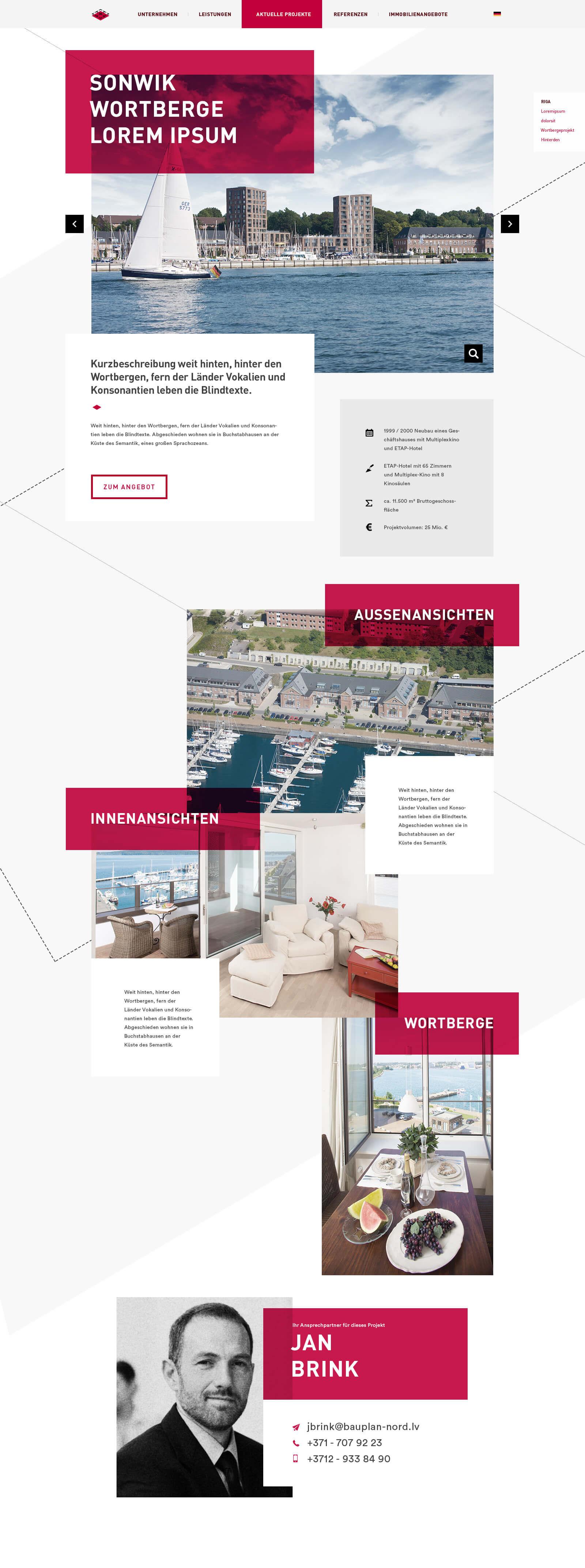 Webdesign für ein internationales Ingenieurbüro - Unterseite