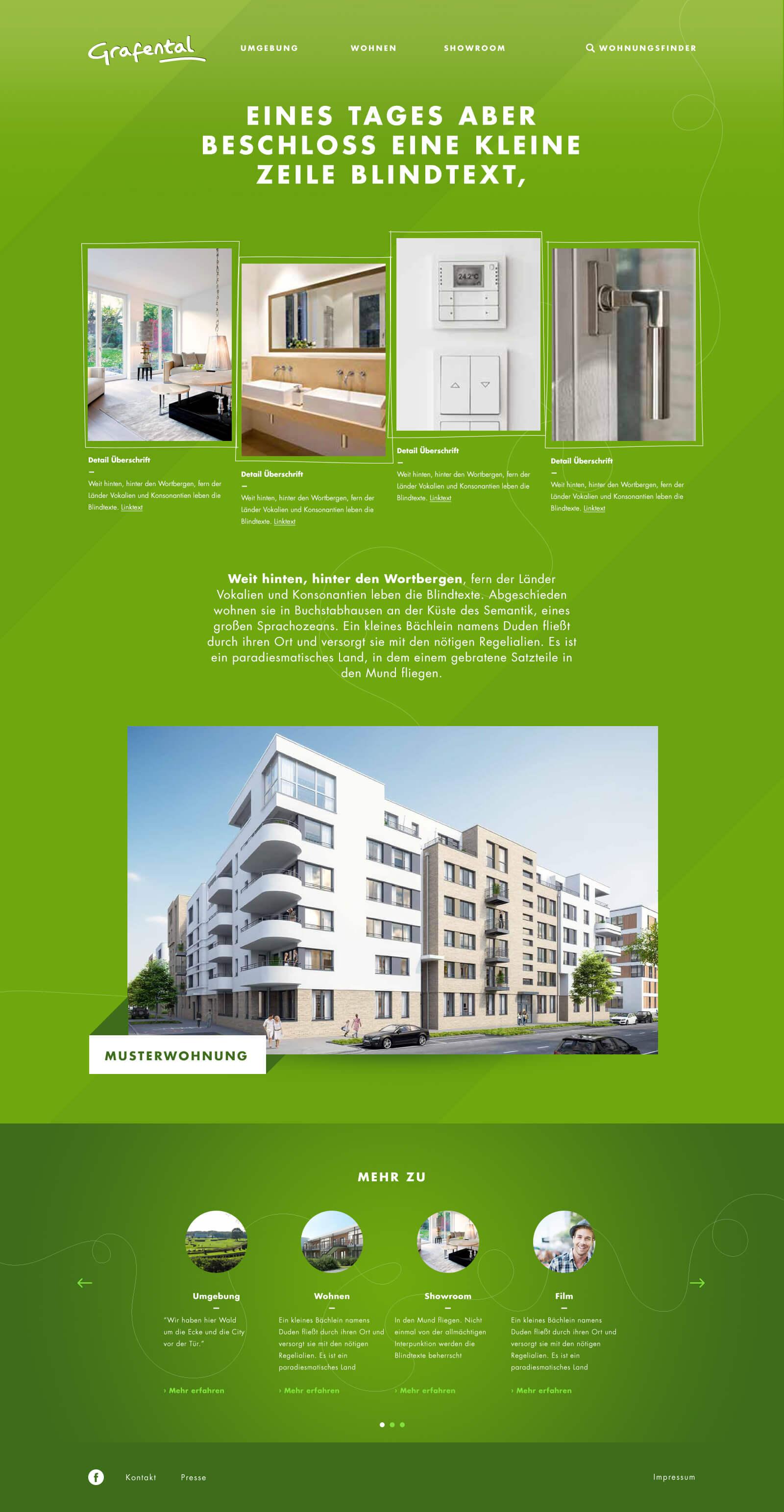 Webdesign für ein Immobilienprojekt in Düsseldorf: Grafental. Dies ist eine Unterseite
