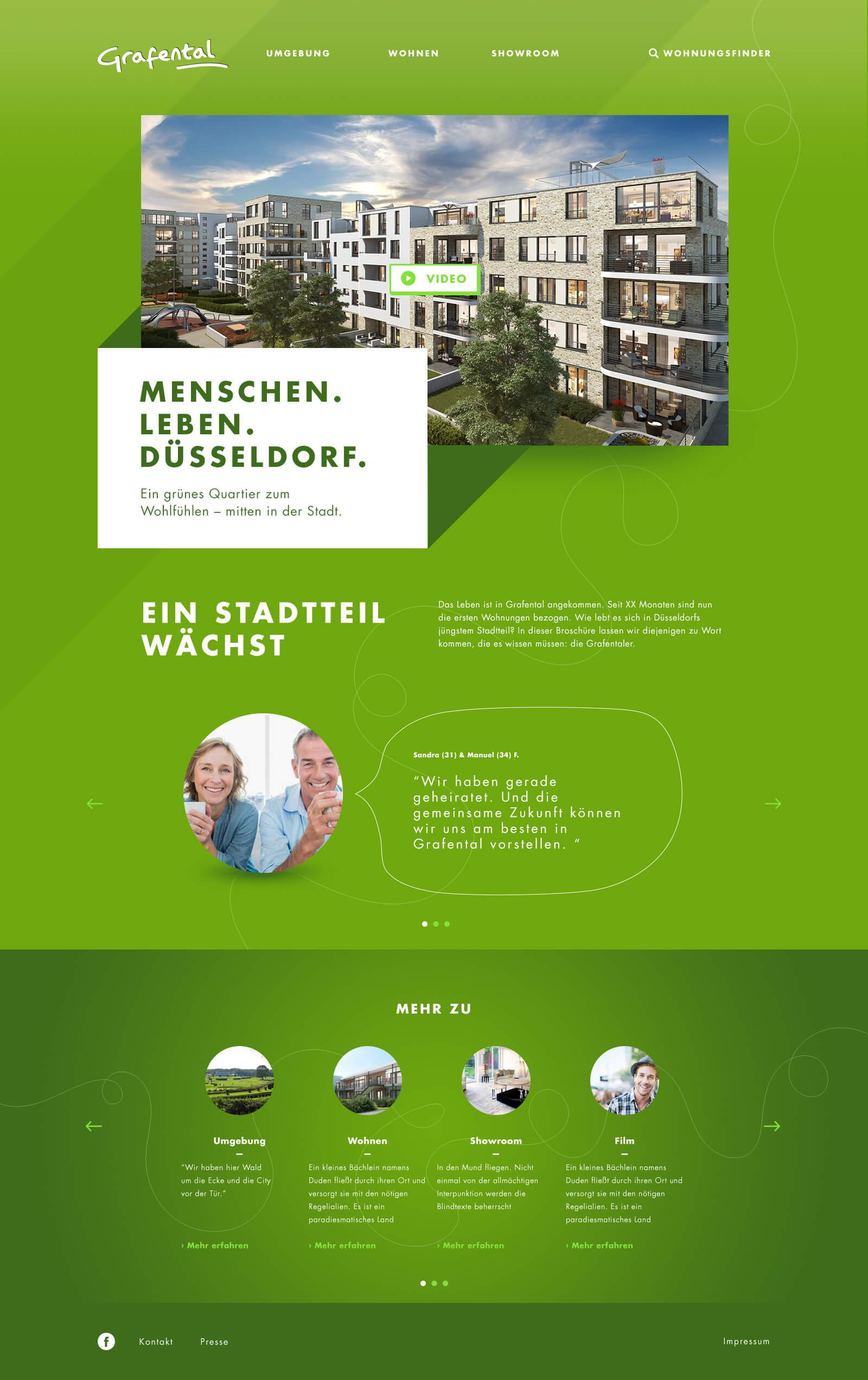 Webdesign für ein Immobilienprojekt in Düsseldorf: Grafental. Dies ist die Startseite