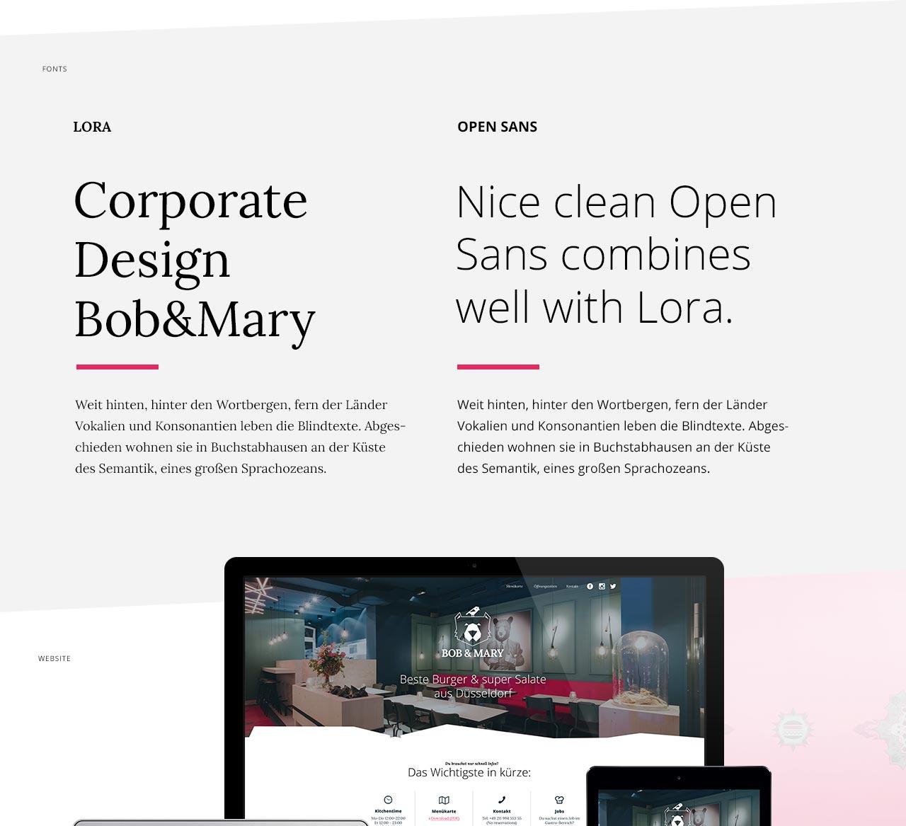 Bob und Mary - Typoauswahl beim Design des Corporate Designs in Düsseldorf