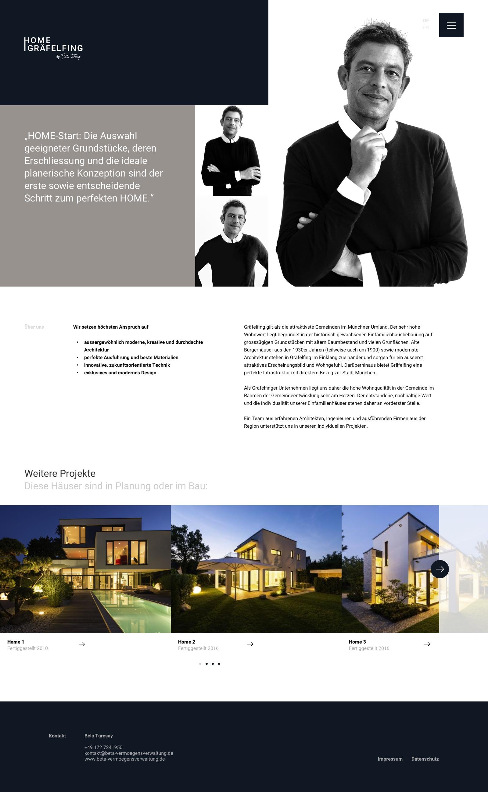 Webdesign und Branding für ein Immobilienunternehmen: Home Gräfelfing - Unterseite