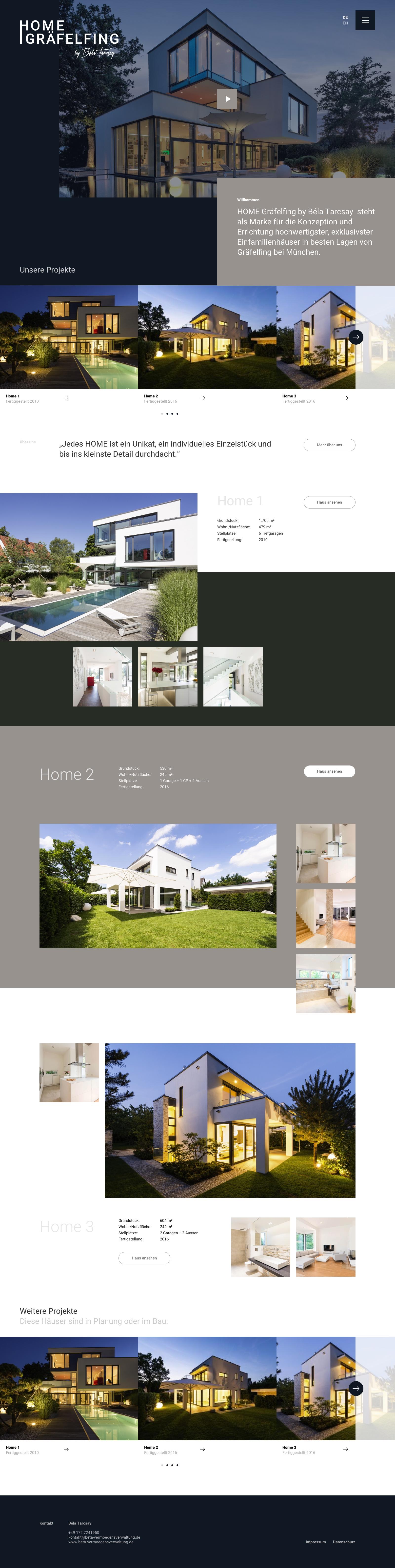 Webdesign und Branding für ein Immobilienunternehmen: Home Gräfelfing: Eine weitere Unterseite