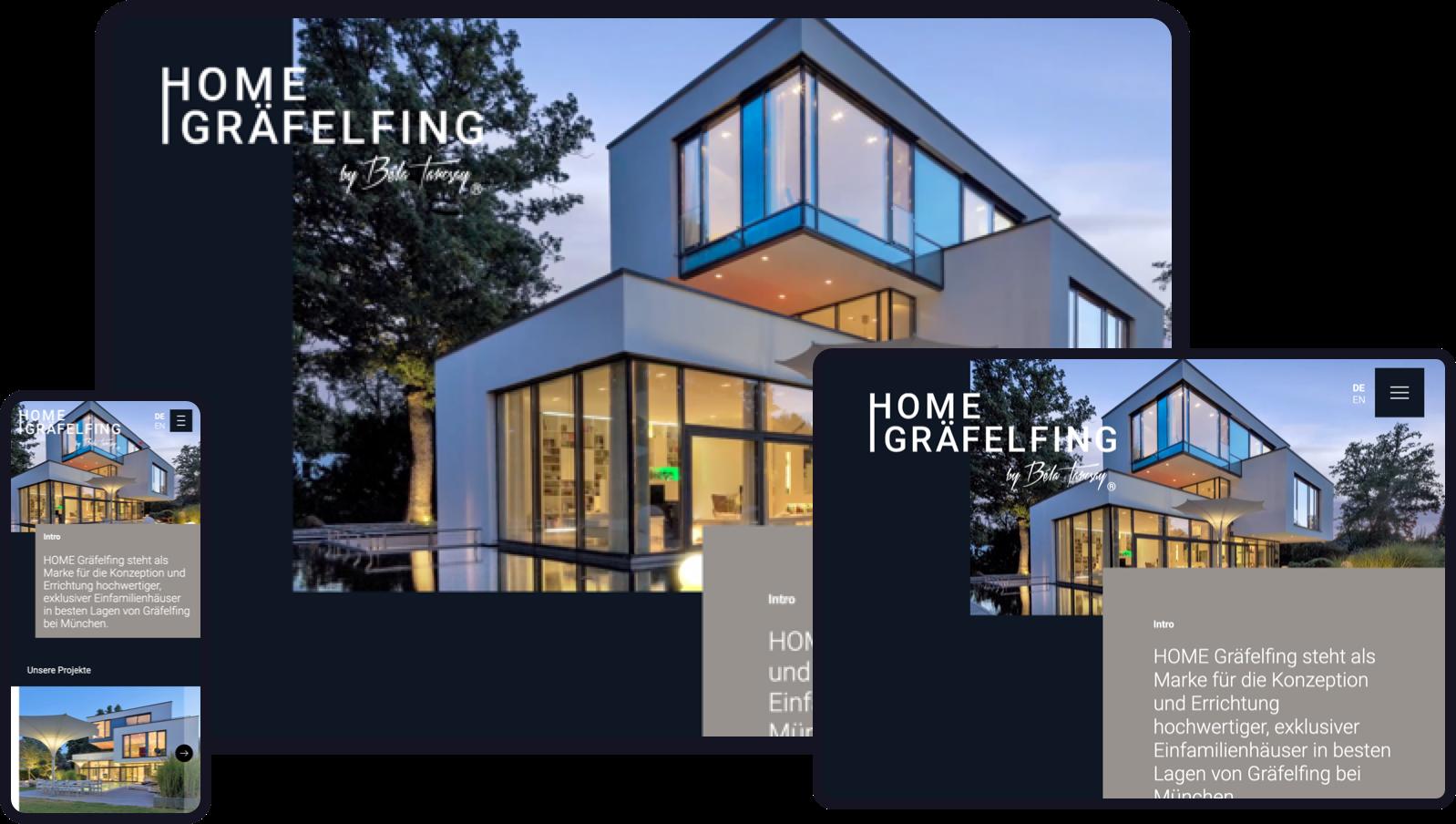 Überarbeitung des Brandings eines Projektentwicklers, Gestaltung einer neuen Homepage.