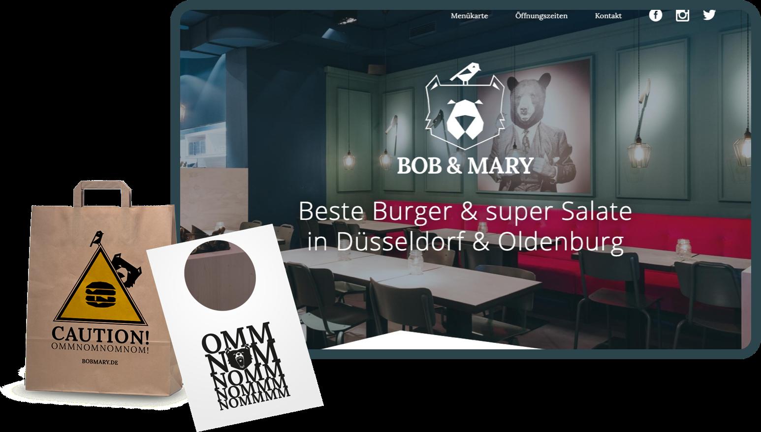 Bob&Mary - Corporate Design und Gestaltung einer Webseite für ein Restaurant. Ein Case von Matteng - Webdesign Freelancer aus Düsseldorf. Schau mal rein!