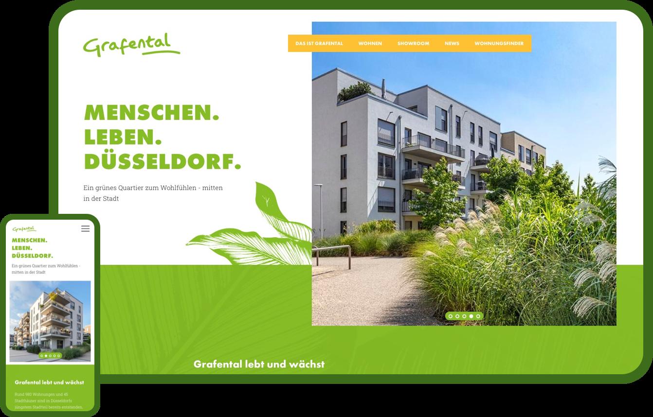 Design einer Homepage, Entwicklung einer Marke für einen Projektentwickler aus Düsseldorf