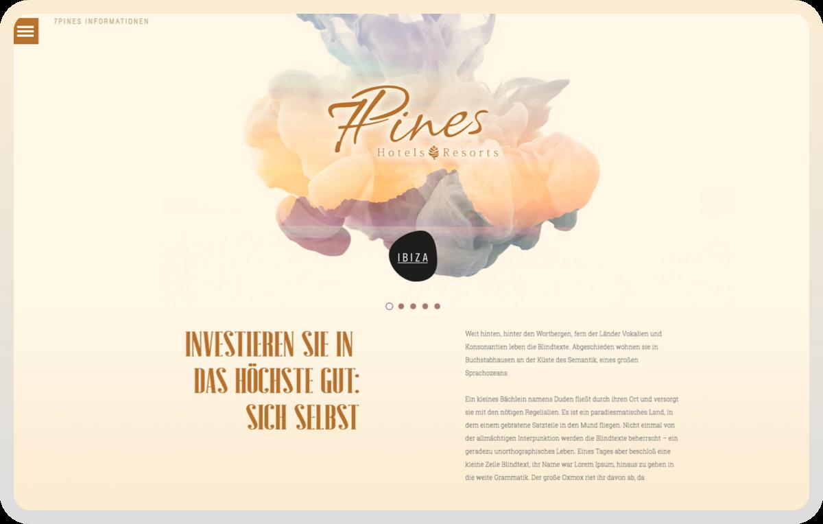Vermarktungs-Website für ein neues Hotel-Resort auf Ibiza