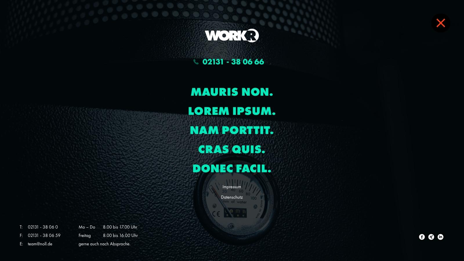 Workr Homepage Webdesign & Digital Branding - Menue