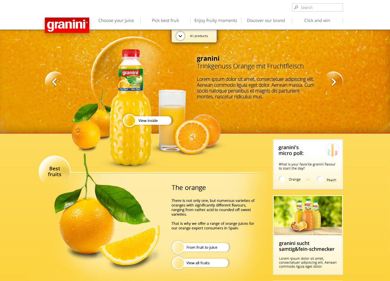 Webdesign für Granini - Unterseite: Orange