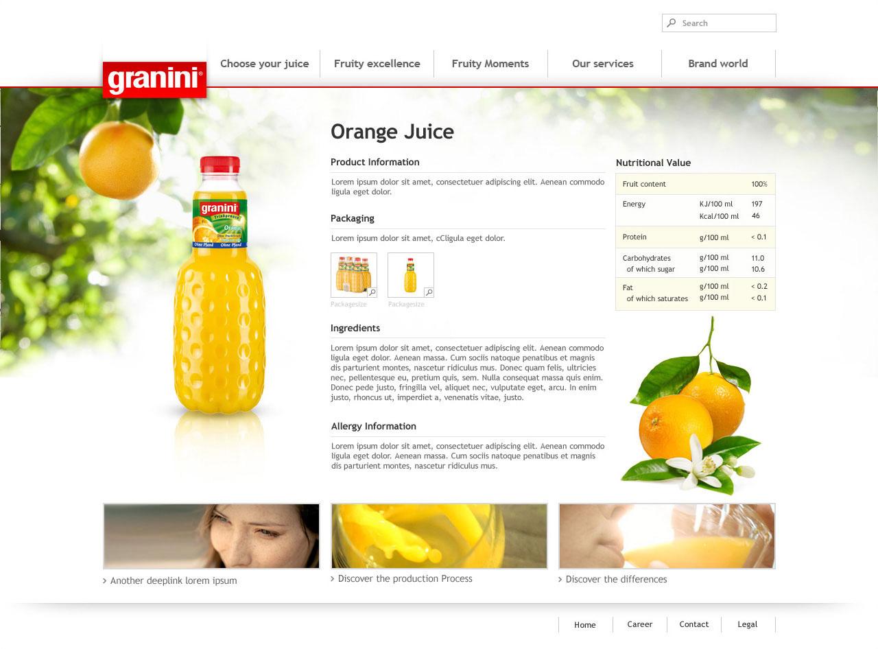 Webdesign für Granini - Unterseite Details