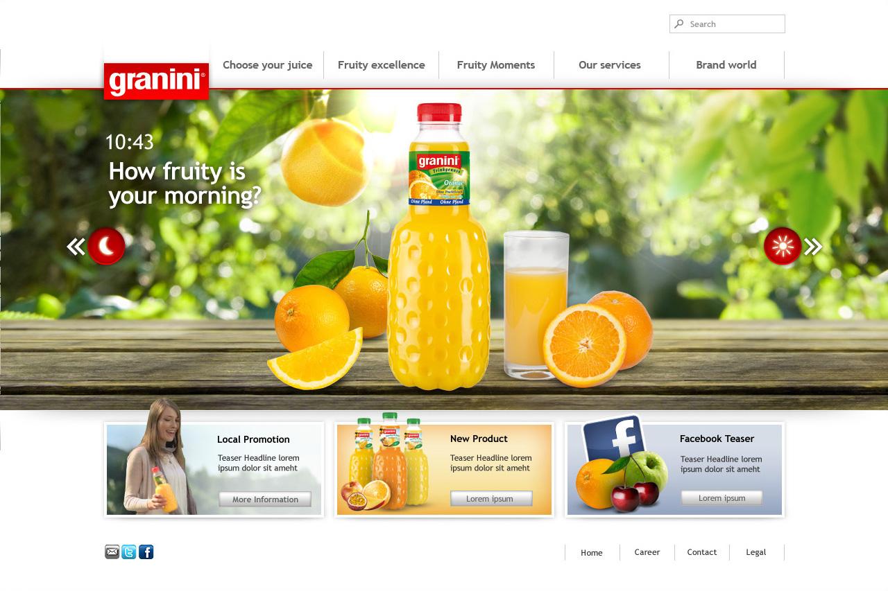Webdesign für Granini - Starsteite