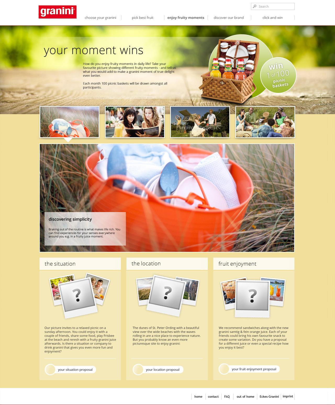 Webdesign für Granini - Unterseite Events