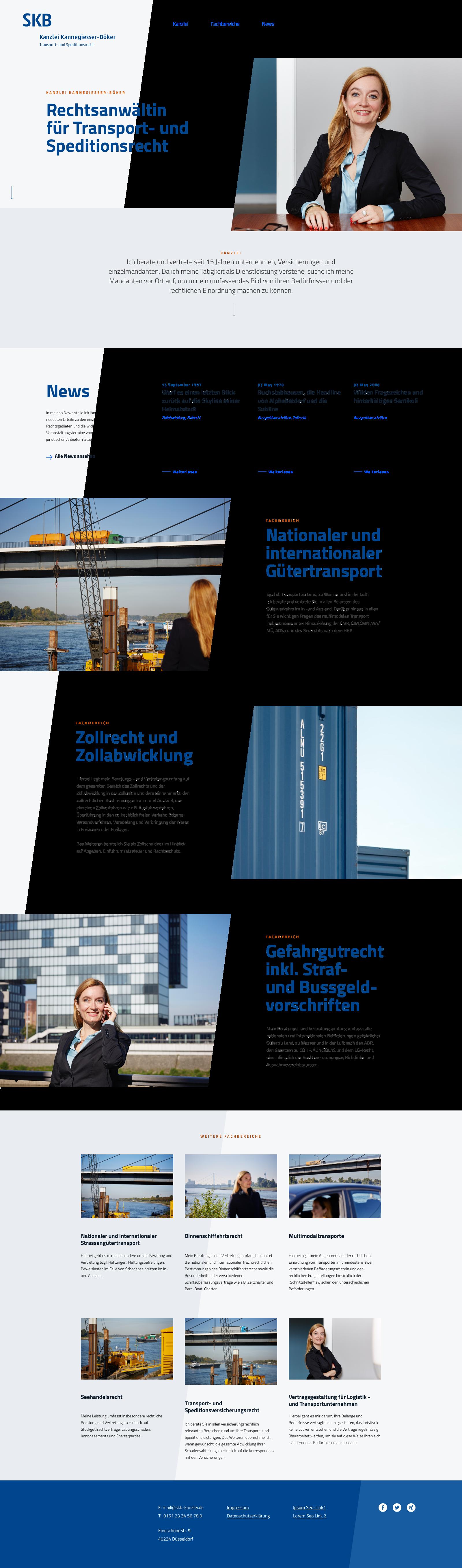 Homepage Webdesign für die Anwaltskanzlei für Transportrecht