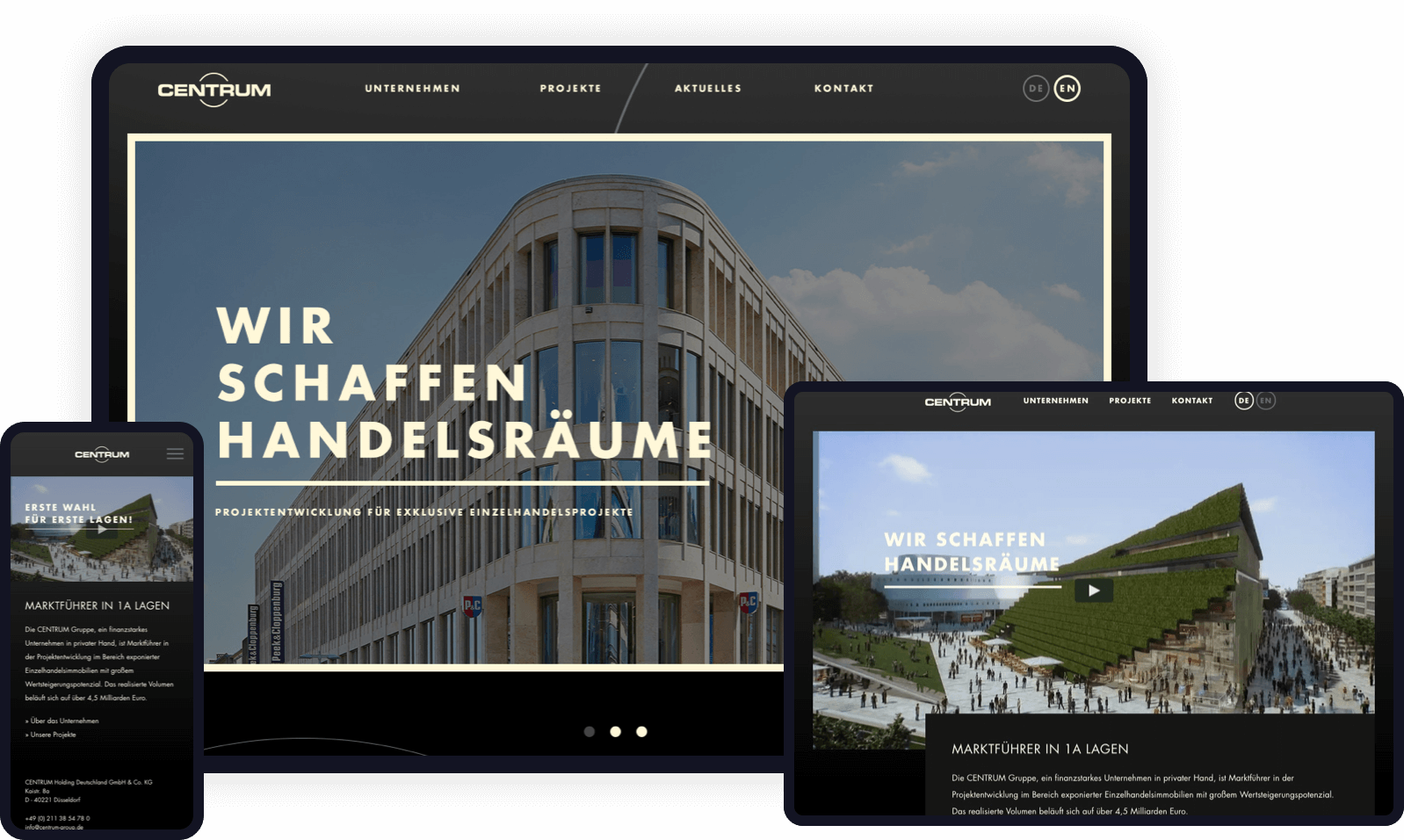 Neugestaltung einer Website für einen Düsseldorfer Projektentwickler.