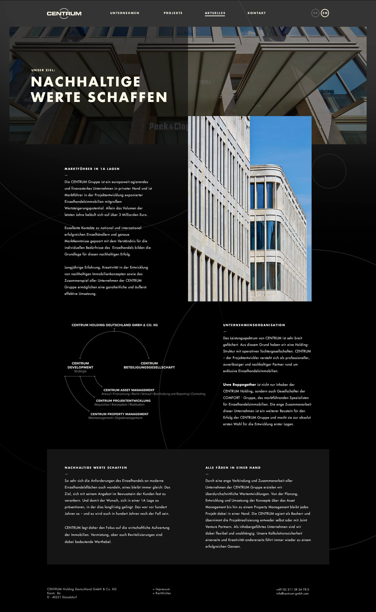 Webdesign für einen Projektentwickler - Detailseite