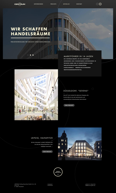 Webdesign für einen Projektentwickler - Startseite