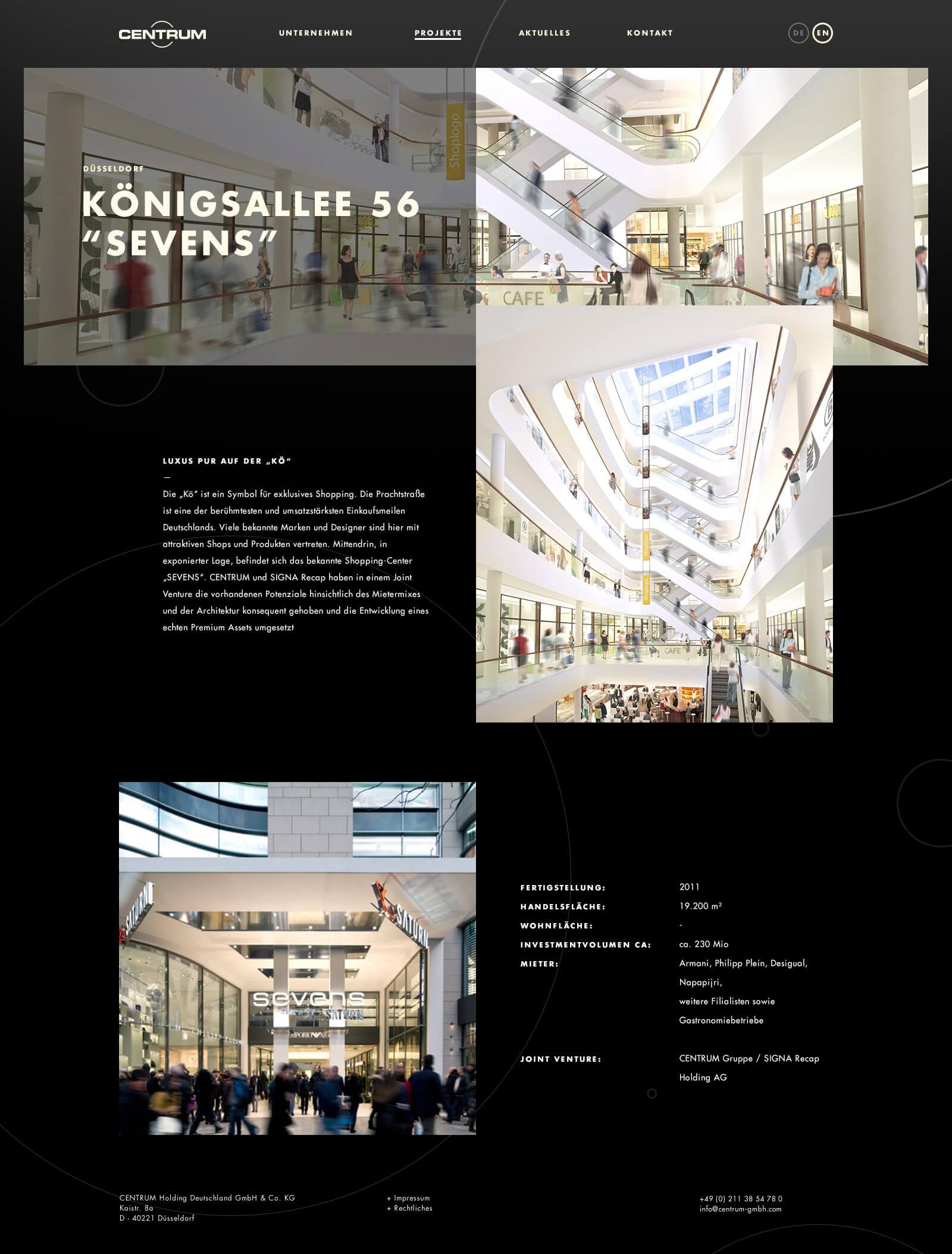 Webdesign für einen Projektentwickler - Projektseite