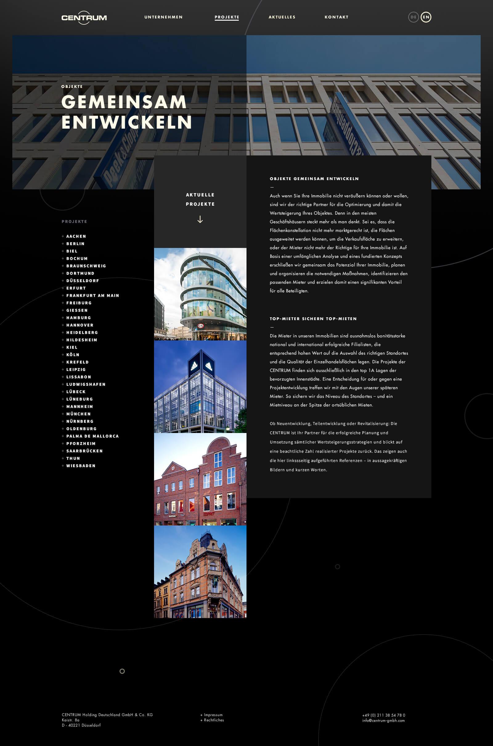 Webdesign für einen Projektentwickler - Projektübersicht